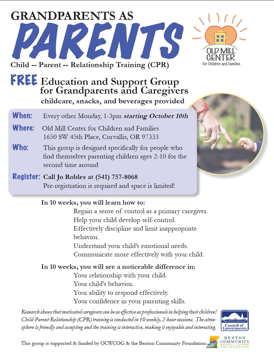 Grandparents as Parents support group starting October 10, 2016 at Old Mill Center in Corvallis, Oregon