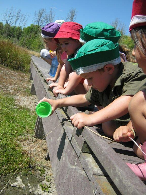 Outdoor exploration is part of preschool at Old Mill Center