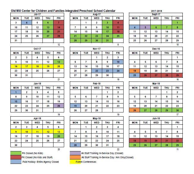 Old Mill Center Preschool calendar 2017-2018