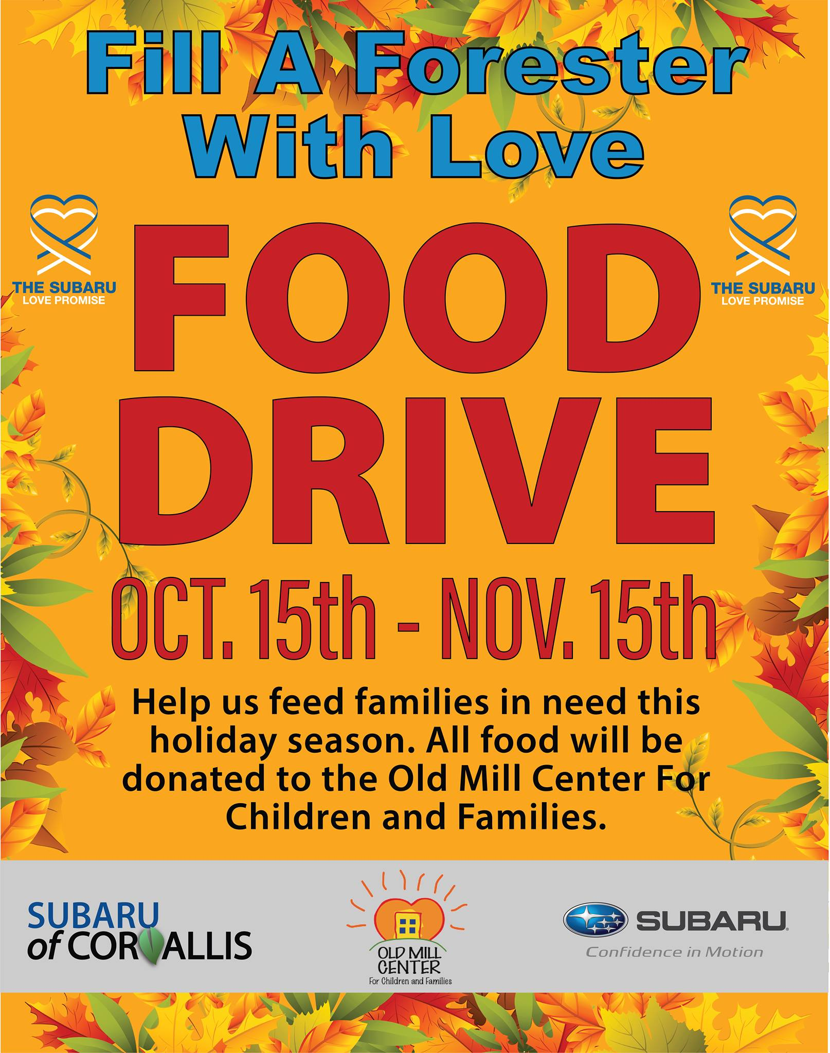 Fill a Forester with Love Food Drive